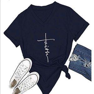 Navy Cross Faith V Neck T Shirt. Small- XL.